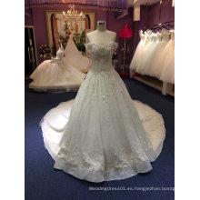 Princesa de la mano del complejo del hombro que rebordea el vestido de boda