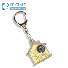 Pretty decorative custom metal hard enamel gold plated house shaped keychain with digital clock