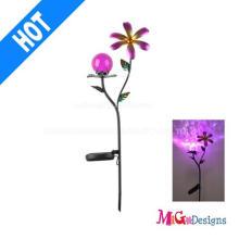 Lumières LED solaires élégantes de fleur en métal de boule en verre
