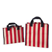 Custom Logo Reusable Beach Bag Stripe Large Volume Woven Belt Canvas Cotton Handle Shopping Tote bag