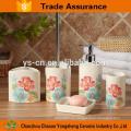Fantástico hecho elegante accesorio de baño de cerámica de flores