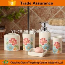 Fantástico feito elegante flor cerâmica banho acessório