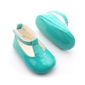 Green Festival Soft Sole Baby T Bar Shoes