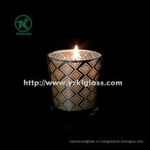 Цветная стеклянная чашка для свечей с двойными стенками от BV (6.5 * 7 * 8)