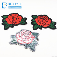 Fashion wedding small sequins applique multicolor custom design fabric 3d logo rose floral flower embroidery patch for clothing