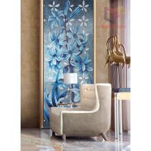 Blue Flower Hand Cut Crystal Art Mosaic Tile (CFD21)