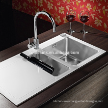 Inset 1.5B Tempered Glass Stainless Steel Kitchen Sink with Double Bowl