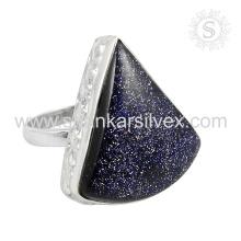 >>>Latest hot design blue sunstone silver ring 925 sterling silver jewelry handmade jaipur wholesaler