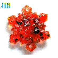 Encantos pingentes de vidro flor neve vermelha com grânulos de ouro Millefiori poeira