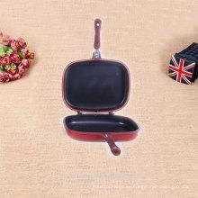 Producto de venta caliente esmaltado parrilla lateral doble pan
