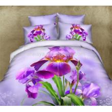 100% Algodão Chinês Bedding Set em Walmart Atacado 3D Purple Design Floral