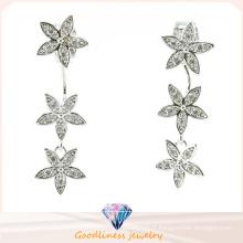 Bonne qualité et Star Pattern Design Bijoux fantaisie Chine Bijoux en vrac 3A CZ 925 Boucles d'oreille en argent (E6522)