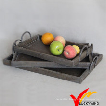 Set of 3 Shabby Brown Wooden Tray with Metal Handle