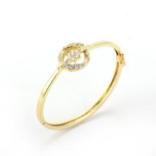 Moda de joyería 14k oro elegante estilo rural flor de cristal brazalete
