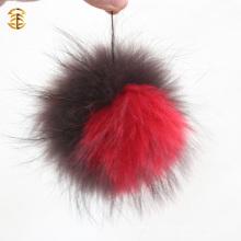 Große Pom Poms auf Beanie Hut Echtes Tier Flauschige Waschbär Hund Pelz Ball Beanies Pompom