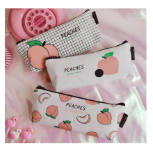 Cotton canvas fabric  students stationary bag fancy zipper pencil bag custom printed pencil case