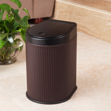 Brown Weave Design Press Waste Bin (H-3LG)