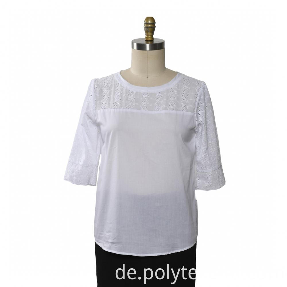 Ladies Top Short Sleeve Cotton Embroidery