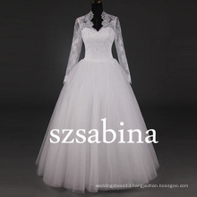 7297 Real pictures of wedding dress long sleeve ball gown muslim green wedding dresses