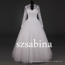 7297 Imagens reais de vestido de noiva vestidos de casamento de manga longa vestidos de noiva muçulmanos