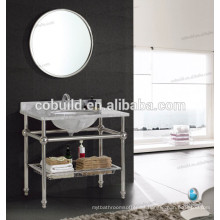 K-7001B tocador del baño de la consola del hotel del marco del acero inoxidable del nuevo diseño con la encimera de mármol