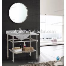 K-7001B nouvelle conception en acier inoxydable cadre hôtel salle de bain console vanité avec comptoir en marbre