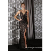 V-Neckline Gown Ruched Lace Fitted with a Slit