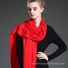 Female Red Twill Wool Scarf Shawl