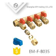 EM-F-B035 Collecteur à 4 voies en laiton à compression avec robinet à boisseau sphérique