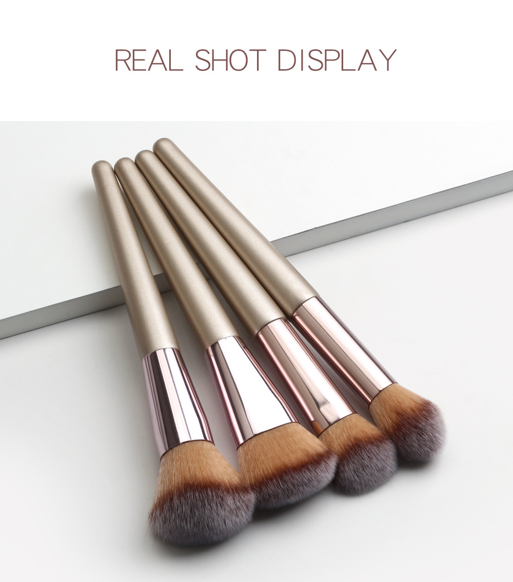 4 Piece Champagne Gold Makeup Brushes set color