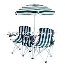 Camping plegable de mesa y una silla fija con sombrilla y Bolsa nevera