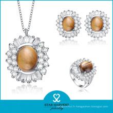 Bagues et pendentifs en pierre semi-précieuse de la mode argentée 925 (J-0142)