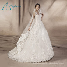 2017 Lace Appliques Tulle Satin V Neck Luxury Wedding Dress