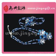 Conjunto de joyas elegantes de zirconio azul de joyería fina de Guangzhou