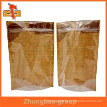 Folha de papel kraft transparente frente à prova de umidade à prova d'água stand up bolsas por atacado para alimentos secos