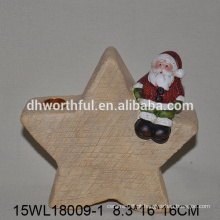 Natal, santa, sentando, estrela, desenho, cerâmico, vela ...