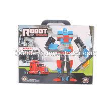 Rojo y azul robot de construcción de bloques de construcción