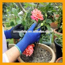 13Gauge Blau Polyester Latex getaucht Handschuhe Schwarz Crinkle Latex Garten Arbeitshandschuhe