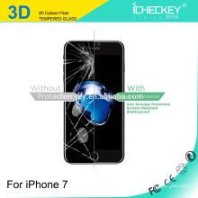 Nuevo protector de cristal moderado curvo de la pantalla de la cubierta completa de la fibra de carbono 3D superior para el iPhone 7 / 7plus