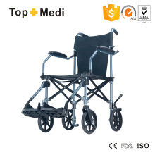 Cadeira de rodas portátil leve dobrável de alumínio Topmedi como bagagem