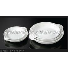 Platos de cerámica de porcelana redonda y blanca con tapa de mango -guangzhou eurohome P0254