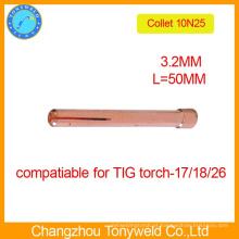 10N25 pinças de fixação de tungstênio Torch de 3,2 mm TIG