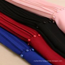 Fashin new muslim women head shawl pearl pleated chiffon beaded hijab scarf