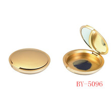 Round Gold Compact Powder Container With Mirror