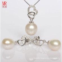 Heart Shape Silver Freshwater Pearl Pendant, Earrings Set