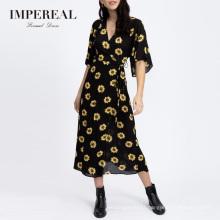 Casual Wrap Style Half Sleeve Printed Waisted Smart Sunflower Dress