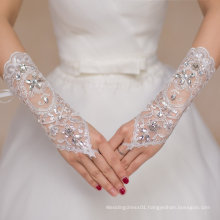 Long Finger See Through Bridal Gloves with Crystal