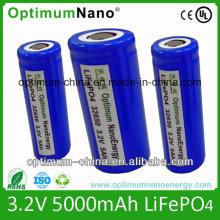 Three Tabs 32650 3.2V 5ah LiFePO4 Battery Cell