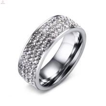 Novo Aço Inoxidável Branco Cristal Zircon Anéis Pavimentados