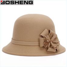 Mujeres Lana Bowler Cloche Felt Bucket Hat con Flor